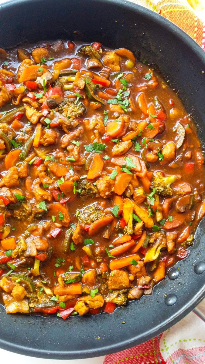 warzywny stir-fry z kurczakiem