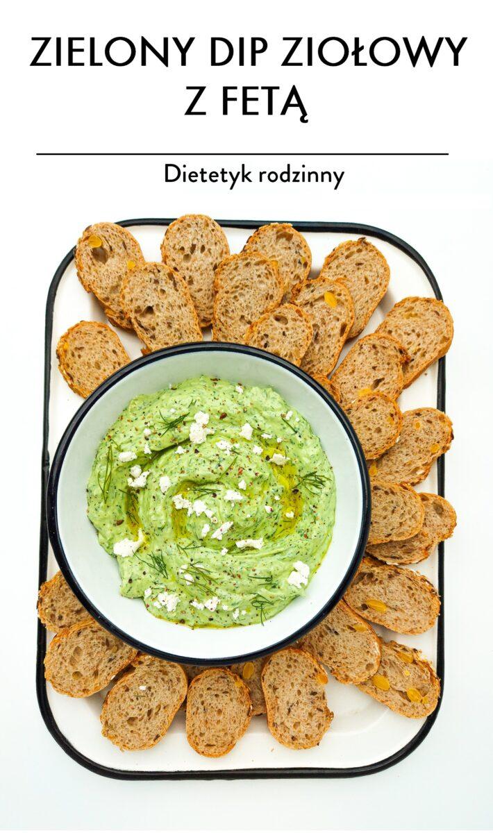 zielony dip ziołowy z fetą