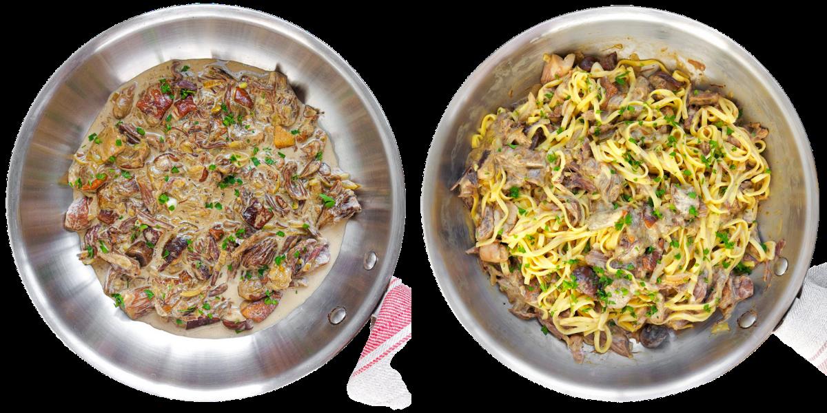 Linguine z wołowiną i pieczarkami